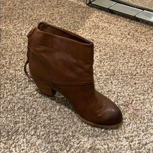 Light brown leather booties